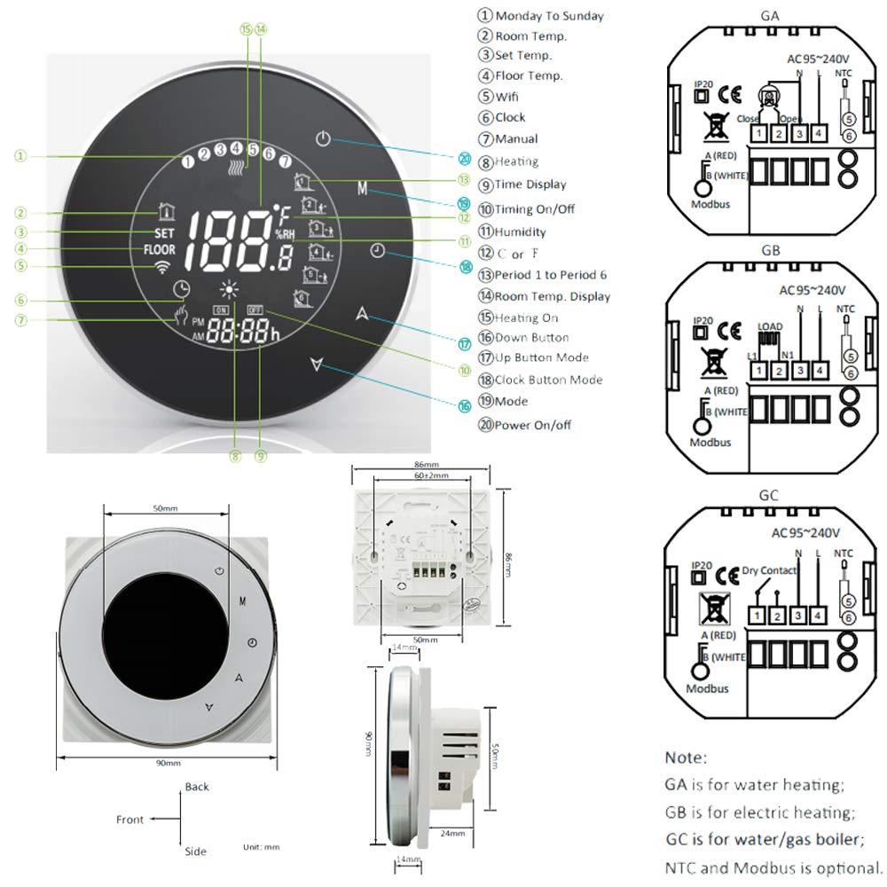 caldera Term/óstato inteligente de control de programaci/ón con conexi/ón WIFI electricidad BECA 6000 Series 3 Calentamiento de caldera, Negro 16A Pantalla t/áctil LCD Calentador de agua