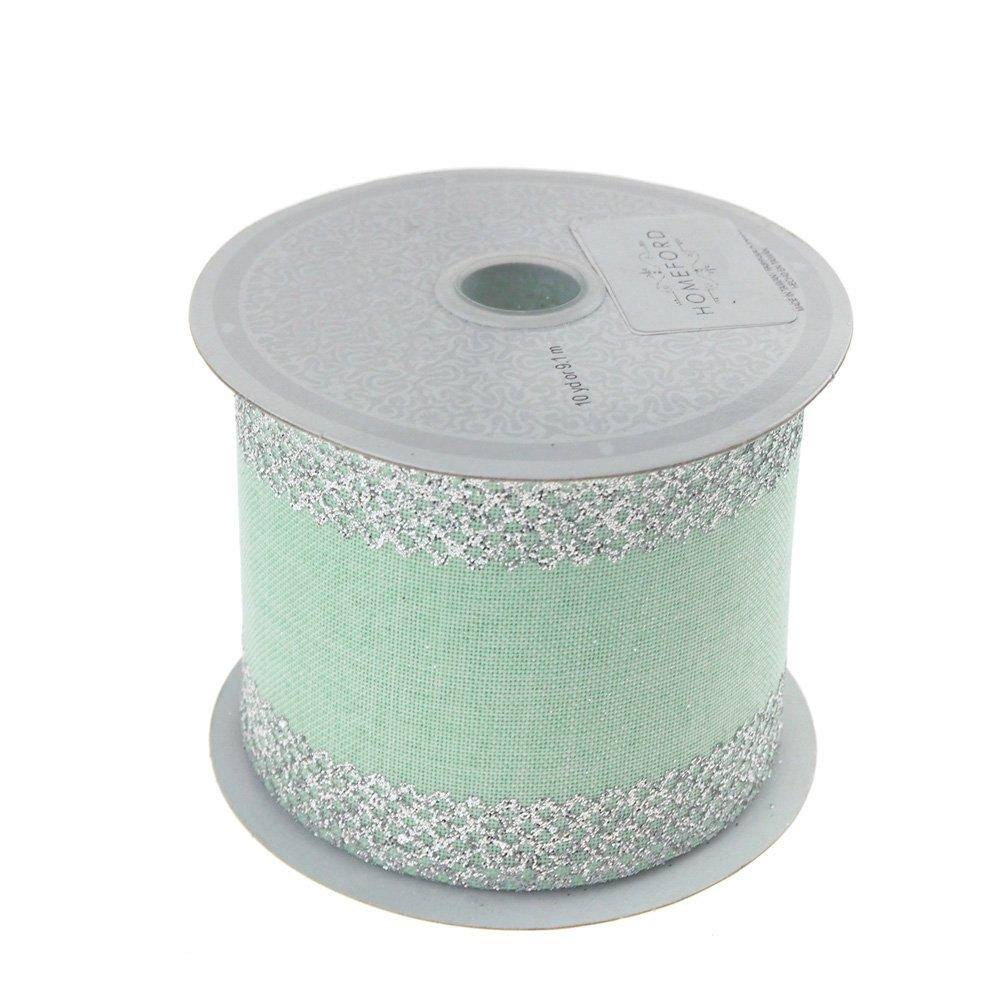 Homeford FCR00CMC2102MGSV Ribbon, 2-1/2'', Silver/Mint Green