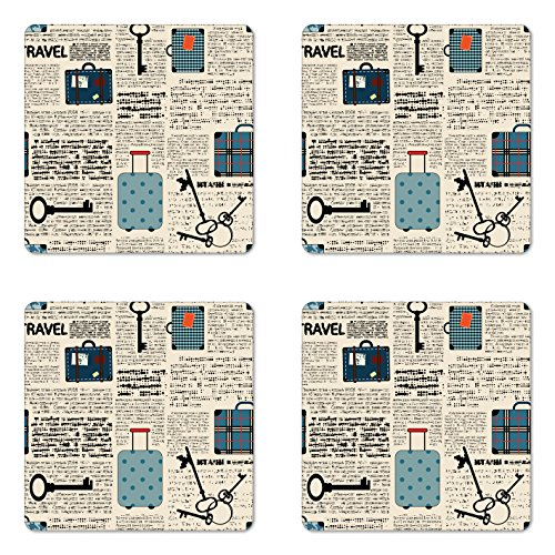 (Lunarable Old Newspaper Coaster Set of 4, Retro Styled Travel Vacation Theme Vintage Suitcases Keys Dot Text, Square Hardboard Gloss Coasters for Drinks, Cream Blue Black)
