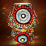 EarthenMetal Handcrafted Colourful Mosaic Decorated Dome Shaped Glass Table Lamp (Multicolour)