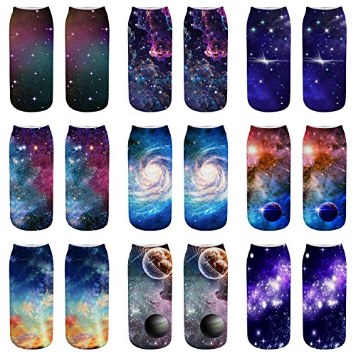 A Star Ankle Sock - AnVei-Nao Womens Girls Star Sky Universe Short 3D Pattern Printed Socks 9 Pack
