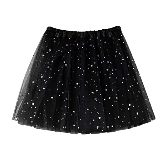 ShiTou Skirts, Summer Womens Pleated Gauze Short Skirt Adult Tutu Dancing Skirt (Black)