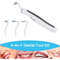 Dental Stain Remover, CkeyiN Sonic Dental Plaque Remover Stain Eraser Tooth Polisher with LED Light 4 Grinding Heads for Oral Hygiene Care