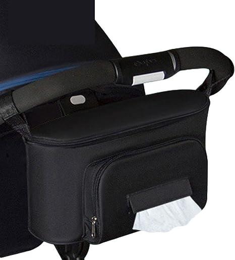 bolsa de almacenamiento de cochecito de beb/é Bolsa multifunci/ón para beb/é colgador de cochecito colgante con velcro negro impermeable bolsa de pa/ñales universal