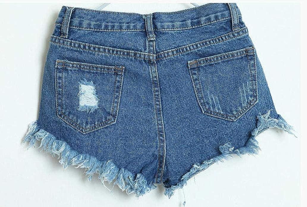 85fb14a471a4 Amazon.com: Women Vintage High Waist Mini Short Pants Frayed Raw Hem Ripped  Distressed Denim Shorts: Clothing