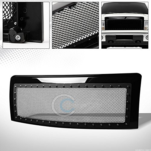 Velocity Concepts Glossy Black Finished Rivet Steel Wire Mesh Front Hood Bumper Grill Grille Cover 2009-2014 for Ford ()