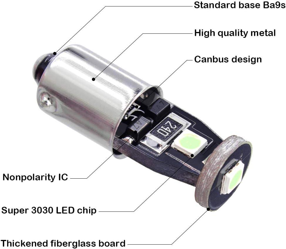 Yoper BA9S 53 57 1895 64111 LED Light Bulb for Car Canbus 12V Red 10pcs