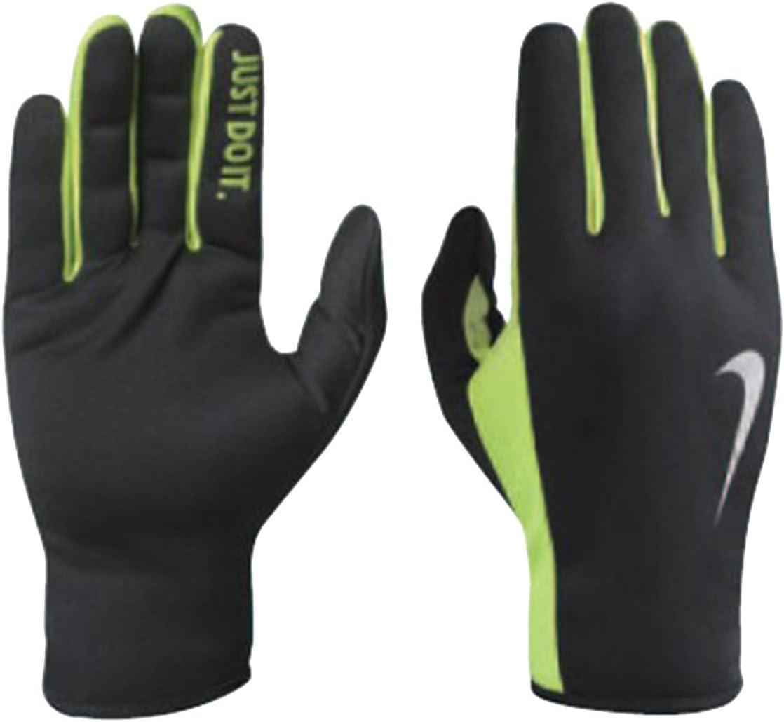 Black//Volt Nike Mens Rally Run Gloves 2.0