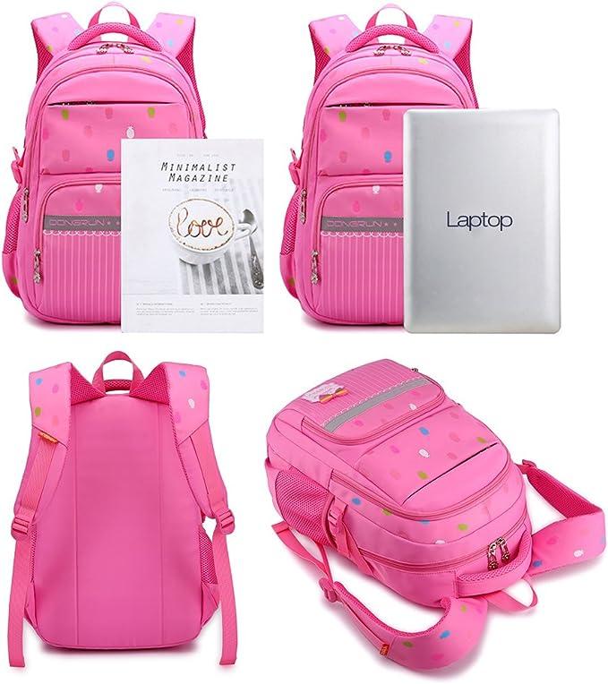 Uniuooi Primary School Bag Backpack for Girls 7-12 Years Old Waterproof Nylon