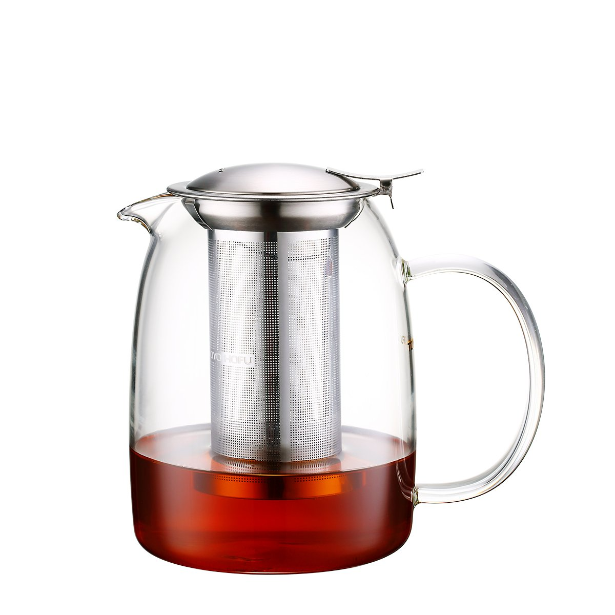 Toyo Hofu Clear Glass Teapot with Infuser, High Borosilicate Glass Teapot with Removable 304 Stainless Steel Infuser,Stovetop Safe, (1100ml/37oz)