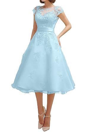 DressyMe Womens A-line Wedding Party Dresses Tea-Length Lace-6-Blue
