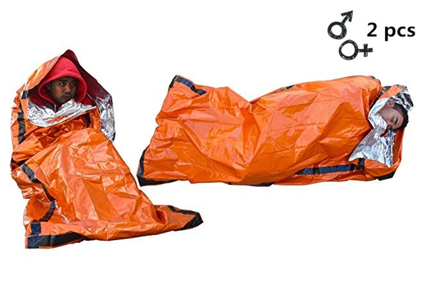 F&W Emergency Sleeping Bag-Use as Emergency Bivy Sack Light-Weight Polyethylene Survival Sleeping Bag for Camping Travel Hiking(2 Pack)