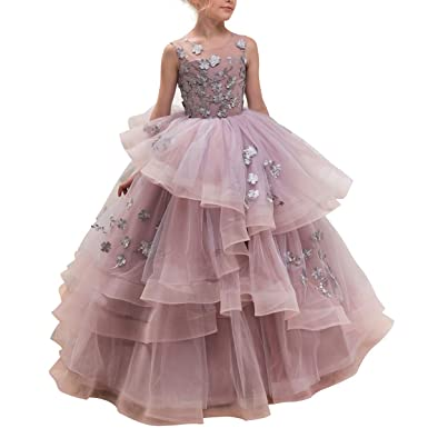 CQDY Floor Length Ball Gown Pageant Flower Big Girl Embroidery Princess Luxury Puffy Tulle Dress Flower