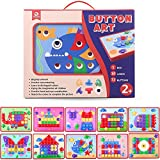 Mobee Button Art Color Matching Mosaic Mushroom Nails Pegboard Puzzle Games with 10 Templates for Kids Sort and Snap Early Learning Educational Toys Children Birthday Gifts
