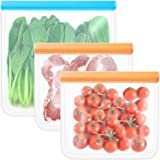 BLOCE Food Storage Bags for Reusable Silicone, 3 Pack BPA FREE Flat Freezer Bags, FDA Grade Leakproof Reusable Vacuum Bags, L