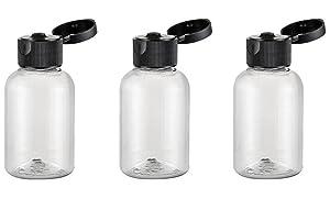 12PCS 50G 50ml 1.7oz Clear Empty Plastic Black Flip Cap Bottle Container Vial Pot For Comestic Sample Travel Makeup Shower Gel Emollient Water Emulsion Liquid (2 Ounce)