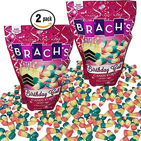 Brachs Birthday Cake Candy Corn Chocolate Cake Vanilla Frosting 15oz re-sealable bag 2-Pack
