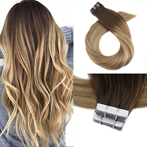 (Moresoo 18 Inch Remy Human Hair Extensions Tape in Hair Balayage Hair Extensions Skin Weft Balayage Colored #3 Brown Fading to #8 and #22 Blonde Glue in 40pcs/100g Adhesive Hair Extensions)