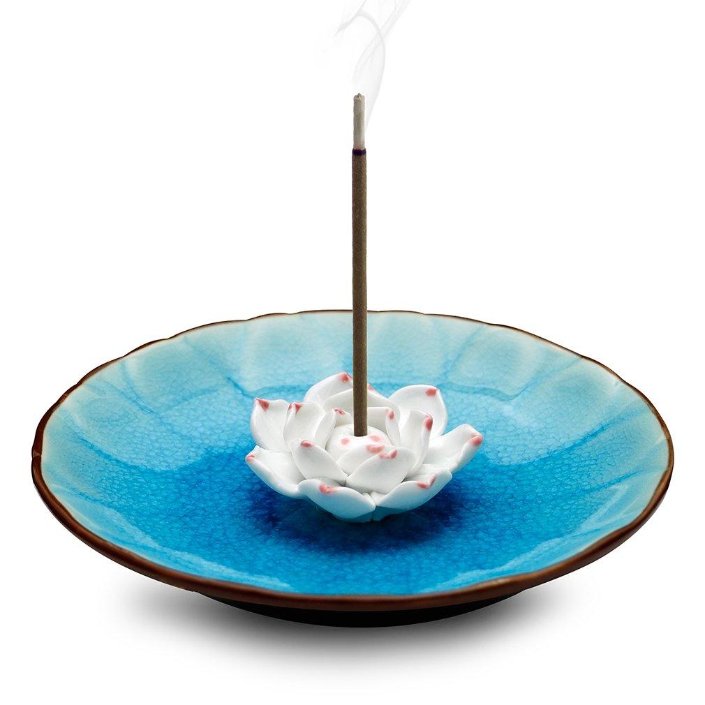 EPFamily Incense Stick Burner Holder - Handmade Ceramic Lotus Flower Incense Burner Bowl Ash Catcher Tray Plate (Lake Blue)