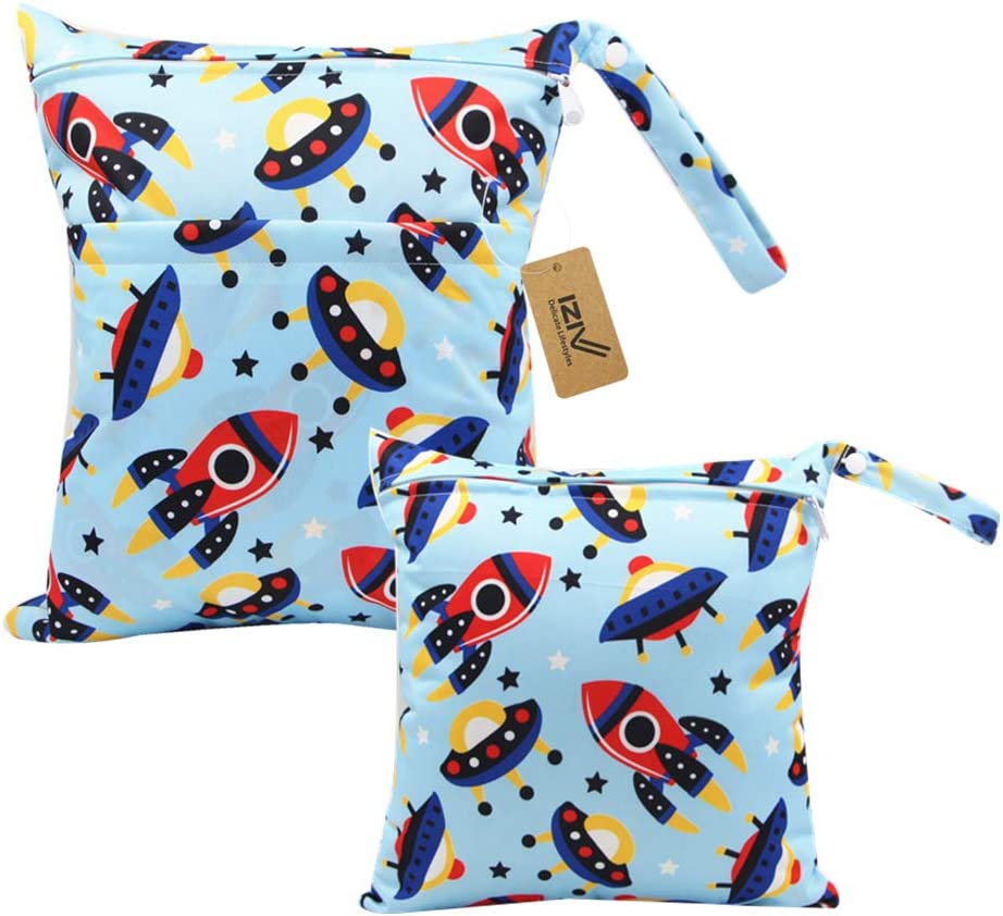Waterproof Washable Hanging Large Organizer Pouch Double Zipper Printing Diaper Bag Reusable Produce Bags iZiv 2 Pack Baby Waterproof Reusable Wet Dry Bag Nappy Bag