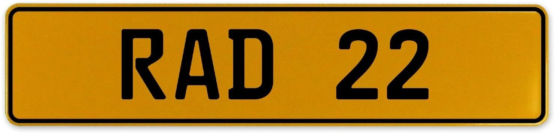 RAD 22 Vintage Parts 558975 Yellow Stamped Aluminum European Plate