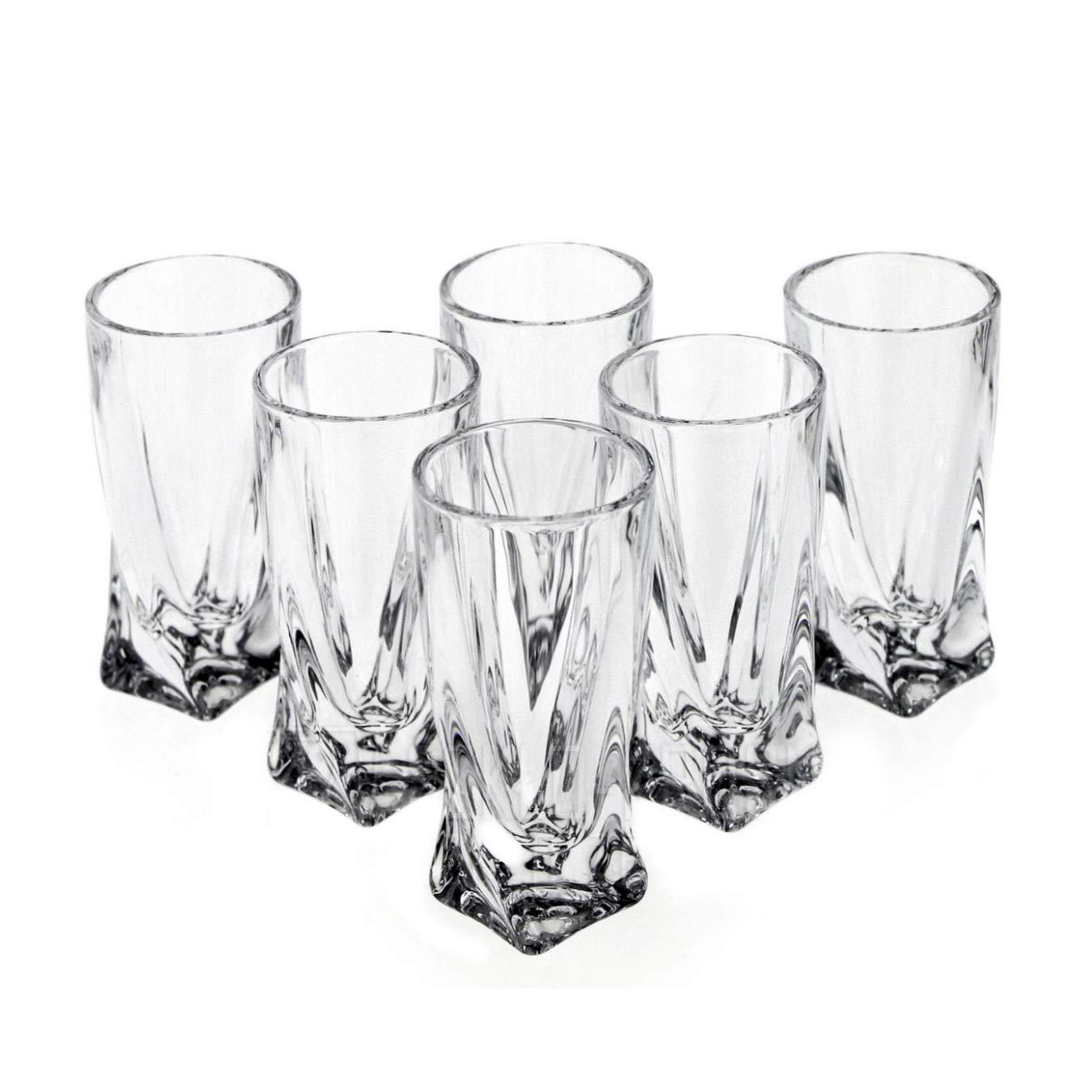 Lead-free Twisted Shape Shot Glasses, Set of 6 | 1.7 oz