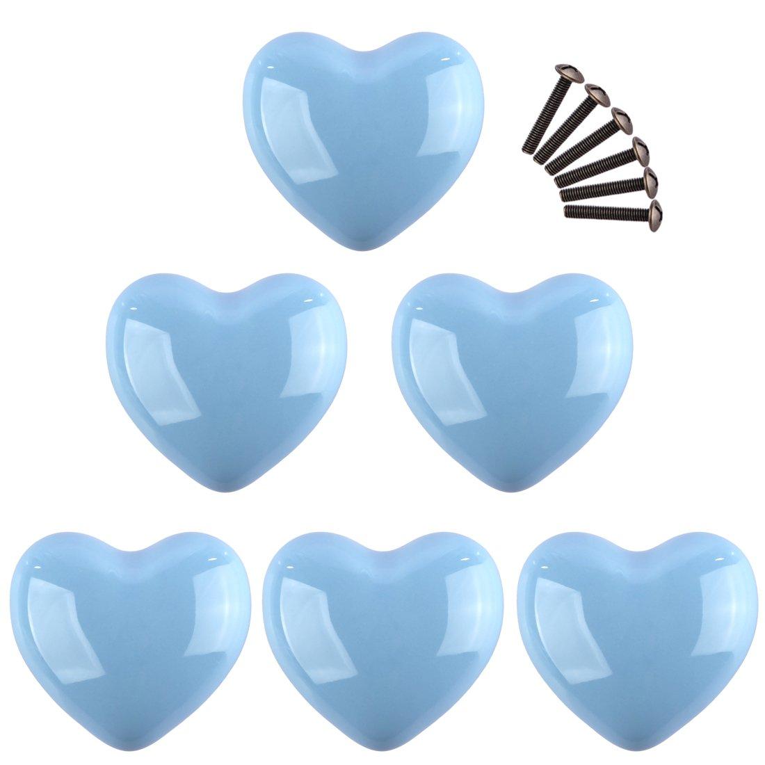 Lommer 6 pezzi Ceramica Cuore Bambini Pomelli per Mobili Maniglie Manopole Armadio Pomelli del Cassetto Manopole per Mobile Manopole per Guardaroba Schrank per i Mobili, 3.5*3.5*3CM