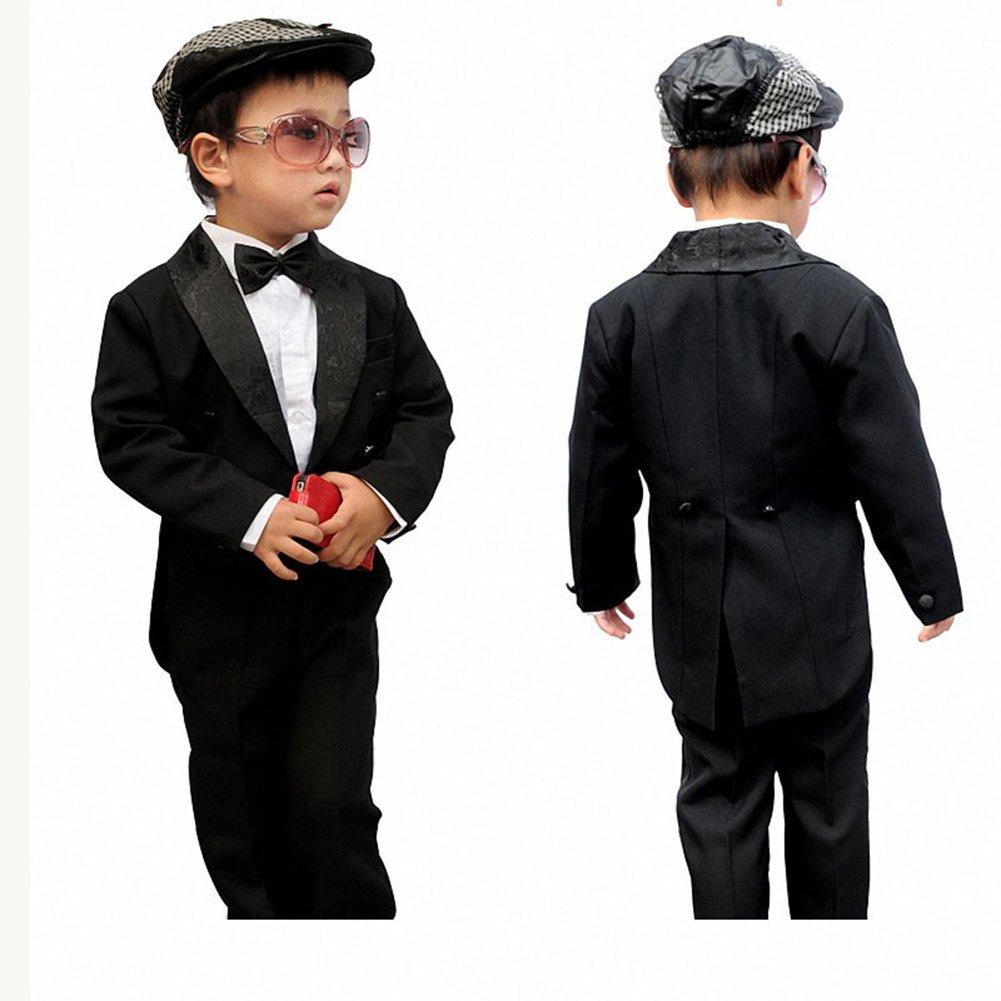 GSCH 5pcs Abito da battesimo Ragazzi Nero Completo Paggetto Smoking 1-6 anni (Children: S, Bianco)