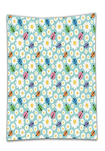 Chaoran Tablecloth Ladybugs Decorations Set By Colorful Daisies And Ladybirds Image Good Luck Charm Discover Your True Self Concept Bathroom Accessories W X L Holiday Home Decorative