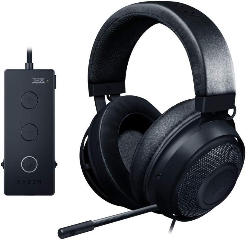 Razer Kraken Tournament Edition THX Spatial Audio – Full Audio Control – Cooling Gel-Infused Ear Cushions- Black Renewed