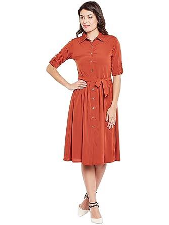 006cdb081da Wisstler Women s Rust Orange Poly Crepe Shirt Dress With Belt Size- X-Small