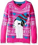 Blizzard Bay Little Girls' Lama Wearing Headphones Sweater, Pink/White/Green, XL(6X)