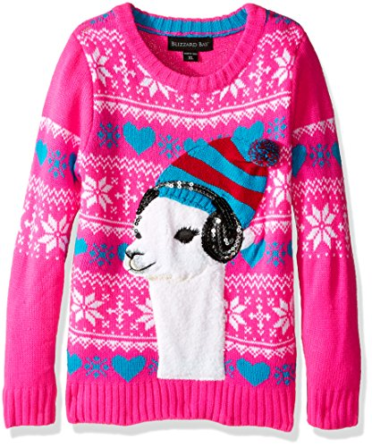 Blizzard Bay Girls' Little Lama Wearing Headphones Christmas Sweater, Pink/White/Green, XL 6X ()