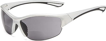 TALLA +2.50. Eyekepper Half-Frame Deportivas Gafas De Sol Bifocales +2.50 Gafas De Sol De Lectura (Plata Marco/Gris Lente)