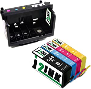 J2INK 1 Pack 4 Color 862/564 Printhead for Photosmart B110a B210a B109a C410a & 1 Set 4 Colors Replacement for 564XL Ink Cartridge High Yield