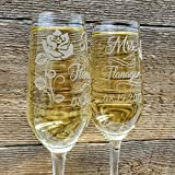 Personalized Wedding Toast Champagne Glasses for Groom and Bride Custom Engraved with Mr and Mrs Last Name Date and Rose Design Wedding Gift set of 2