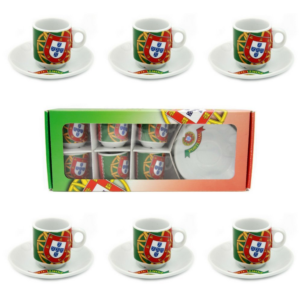 Set Of 6 Espresso Cup and Saucers Portuguese Flag Themed With Gift Box