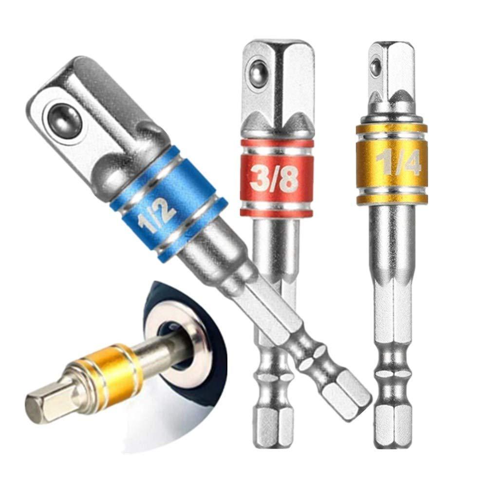 Hand Tools Sockets Sets 8Pcs Socket Adapter Impact Hex Shank Drill Bits Bar Set 1/4' 3/8' 1/2' Bits New,Power Hand Tools, Drill Bits Set,Impact Driver Bit Set Yuegu