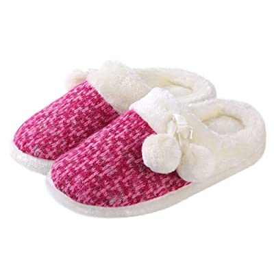Aerusi Pearly Pom Women's Cozy Plush Fuchsia Woven Knit Scuff Slippers