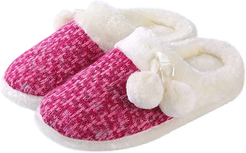 ~ Fuchsia Pink SO Plush Pom Pom Clog Slippers Scuffs ~ Size Large 9-10