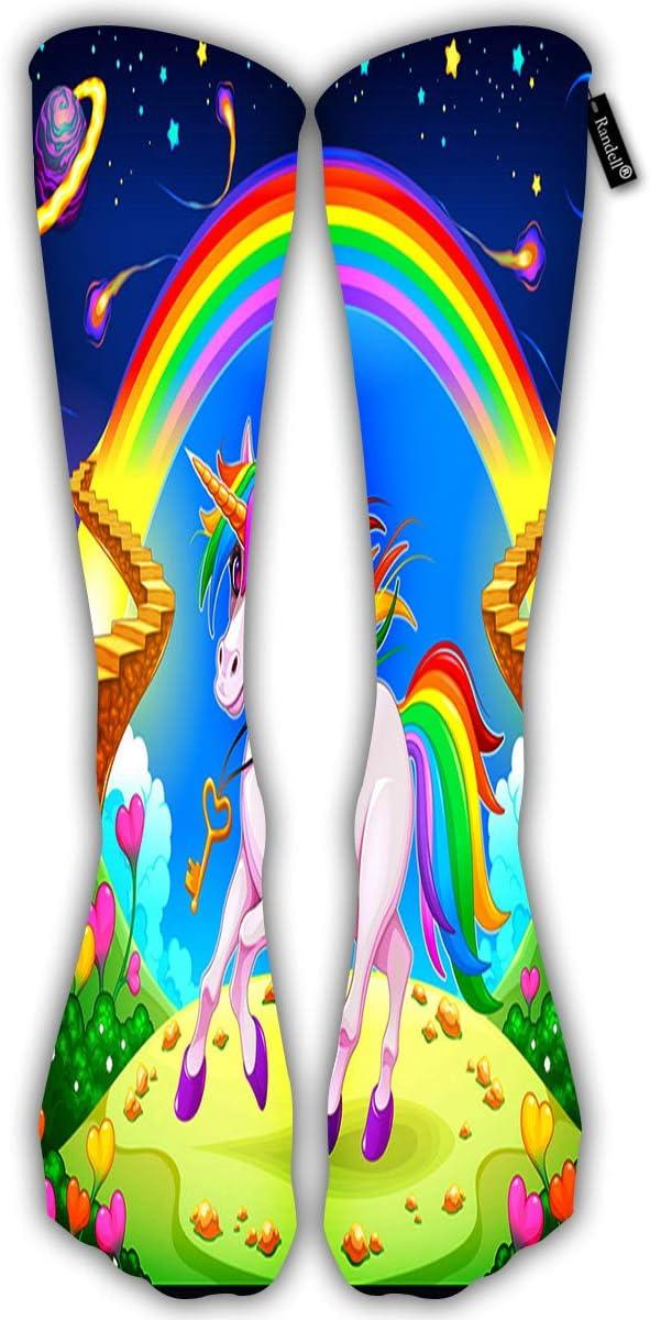 avbvoxy Tube Knee High Socks 50Cm Unisex Over-The-Calf Rainbow Unicorn In A Fantasy LAN