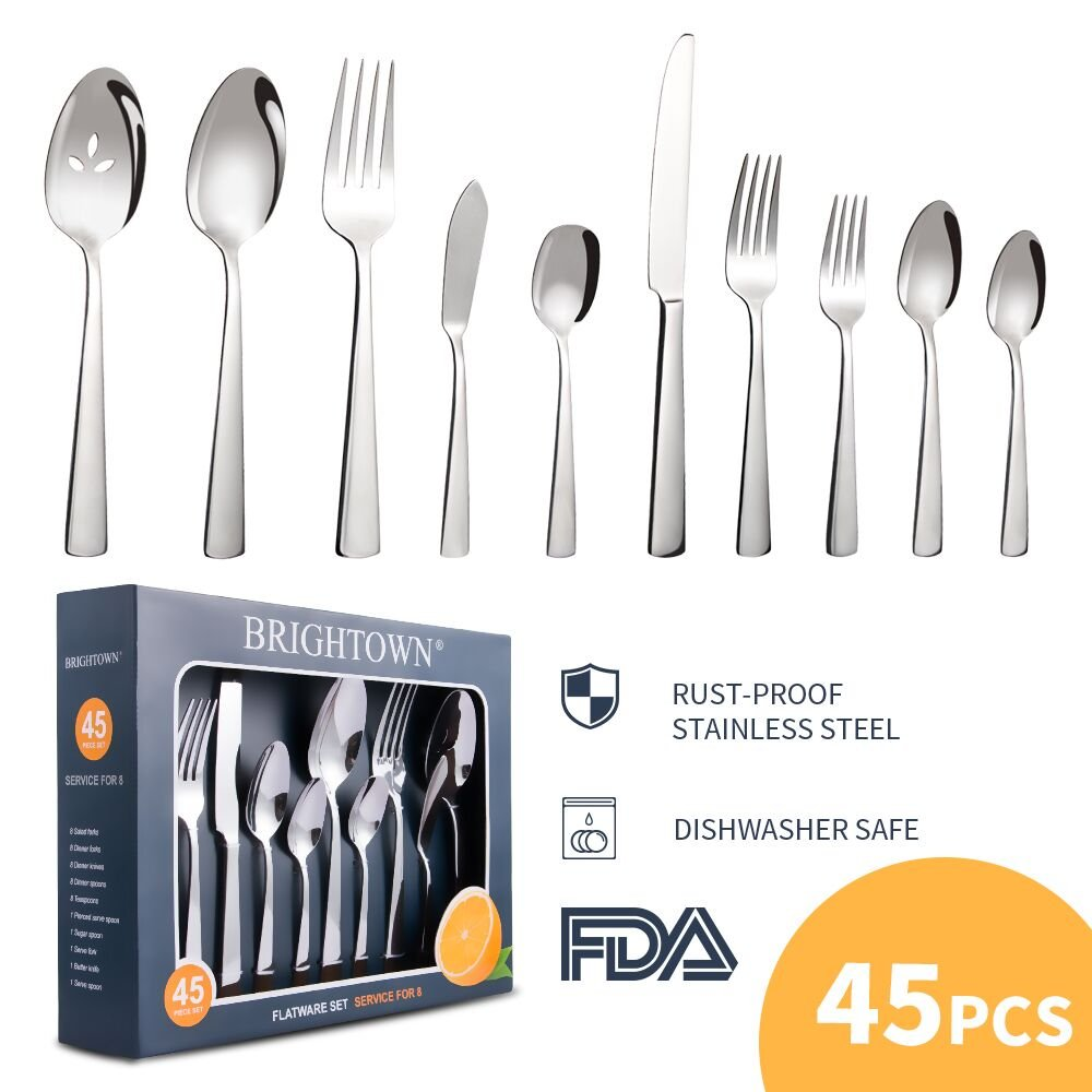 Brightown 45-Piece Silverware Flatware Cutlery Set in Ergonomic Design Size and Weight, Durable Stainless Steel Tableware Service for 8, Dishwasher Safe
