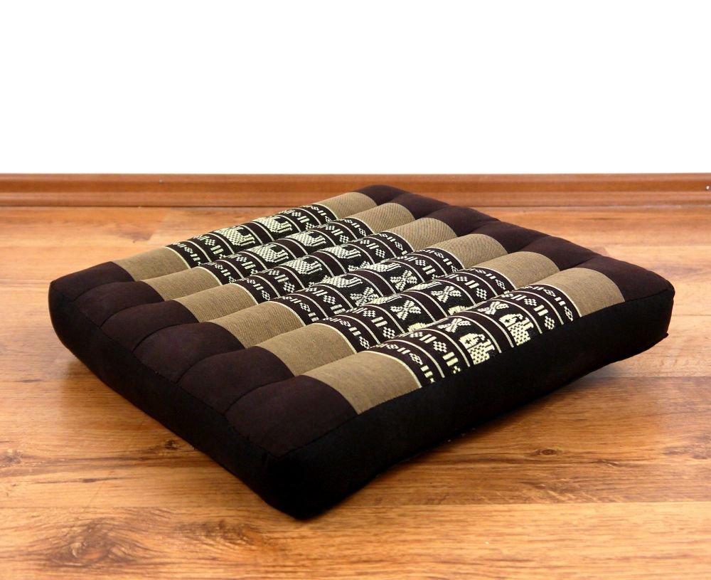 Asia Wohnstudio Kapok Seat Cushion, 35Cm X 8Cm, 100% Natural Filling, Thai Pillow, Handmade, Size M, (Seat Cushion 35Cm) With Xxl Triangle by Asia Wohnstudio