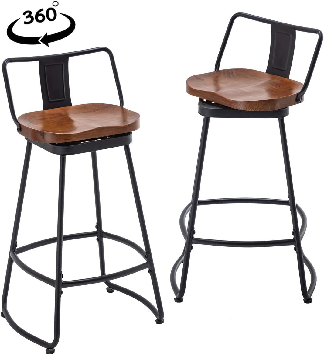 YongQiang Metal Bar Stools Set of 2 Low Back Swivel Wooden Seat Industrial Indoor Outdoor Counter Bar Chairs 30 inch Matte Black