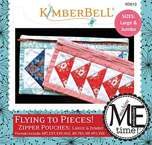 Kimberbell Flying to Pieces! Zipper Pouches: Large & Jumbo Machine Embroidery Design CD KD610