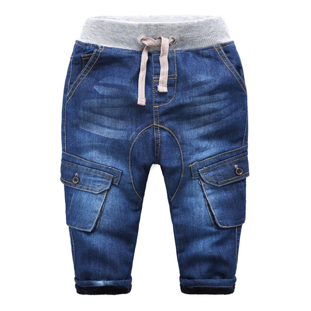 Mud Kingdom Boys' Warm Fleece Jeans with Pockets SK0066