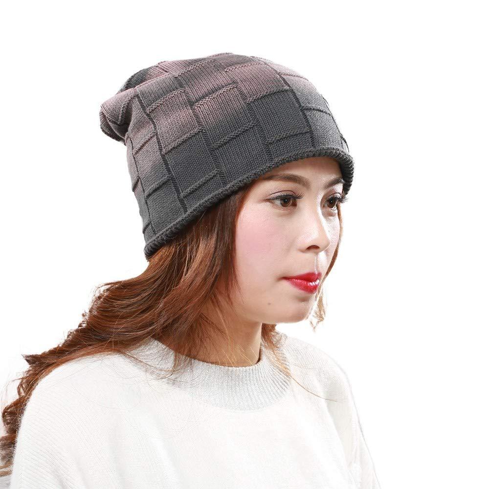 Winter Beanie Hat Men Women Plus Velvet Warm Knitted Cap