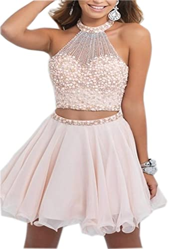 ALW Two Pieces Short Homecoming Dress with Beads Prom Gown 142