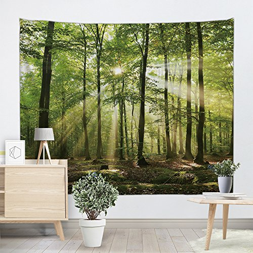 UHUSE Morning Sunshine Through Trees Tapestry-The Forest Freshness Natural Environment Scene Outdoor Picture Print, Bedroom Wall Hanging,Living Room Dorm ()