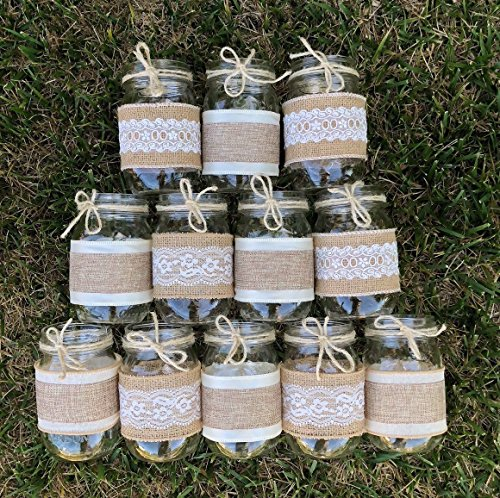 Burlap and Lace Sleeves for Mason Jars, Sleeves and Twine Only, Jars not included, Set of 12, Made to fit Ball Pint 16 oz. Jars -